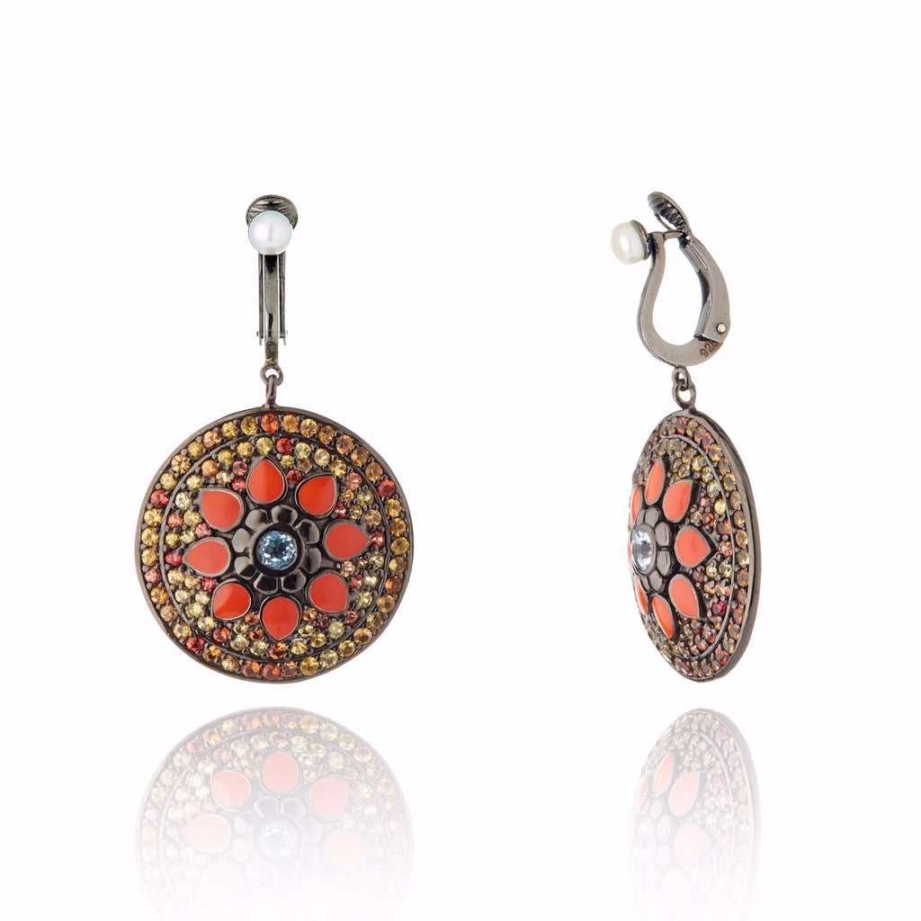 MCL Design Sterling Silver Button Earring Clips with Coral Pink Enamel, Warm Mixed Sapphires, Blue Topaz & White Pearl