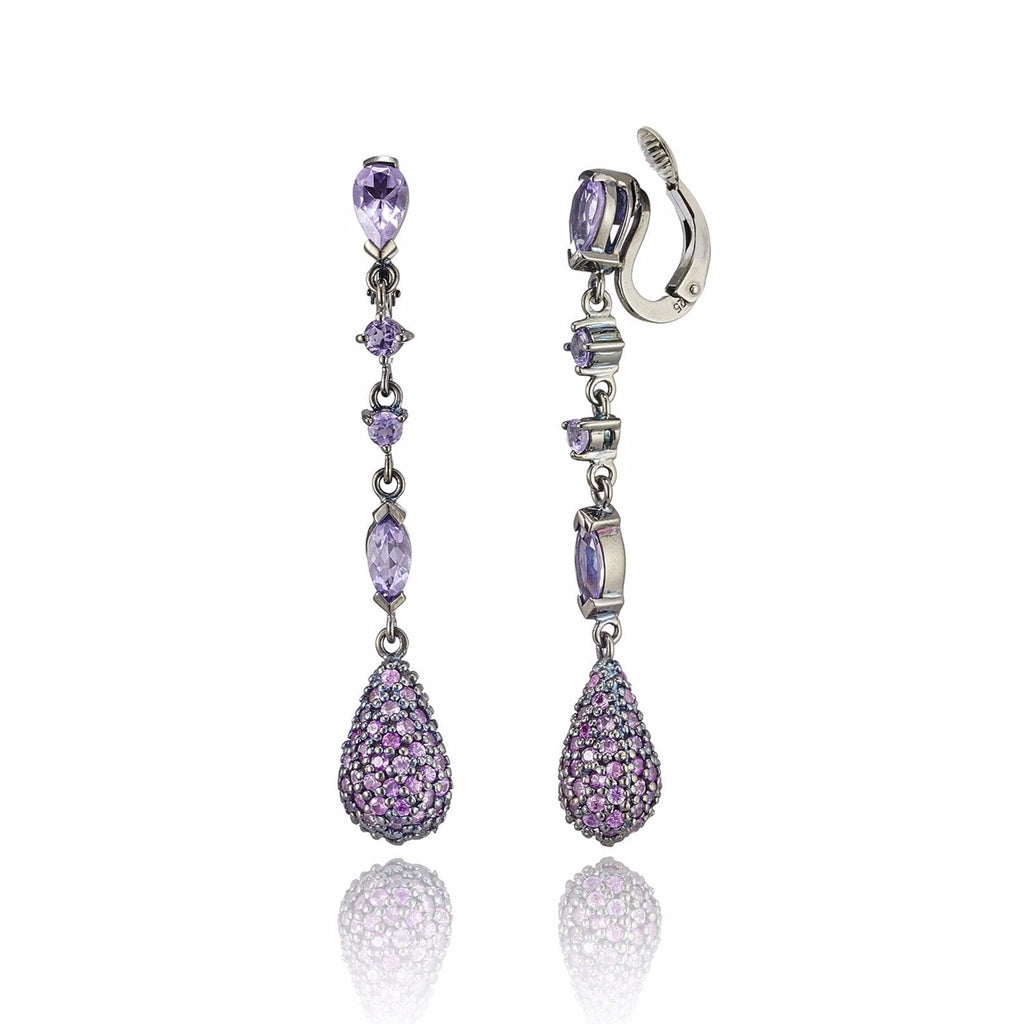 Sterling Silver Statement Earring Clips With Pink Sapphire & Amethyst
