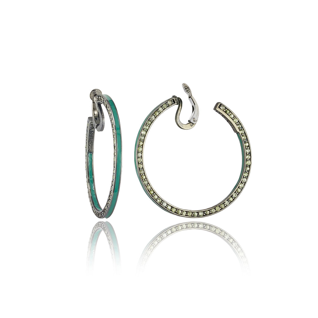Sterling Silver Hoop Earring Clips With Resort Green Enamel & Green Sapphire