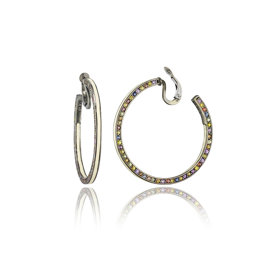 Sterling Silver Hoop Earring Clips With White Enamel & Mixed Sapphires