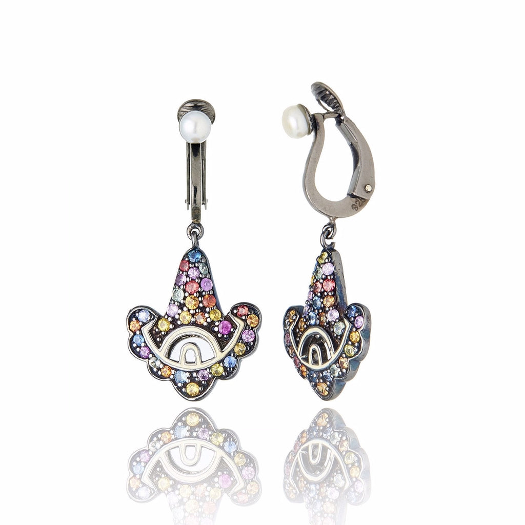 Sterling Silver Statement Earring Clips With Ivory Color Enamel, Mixed Sapphires & White Pearl