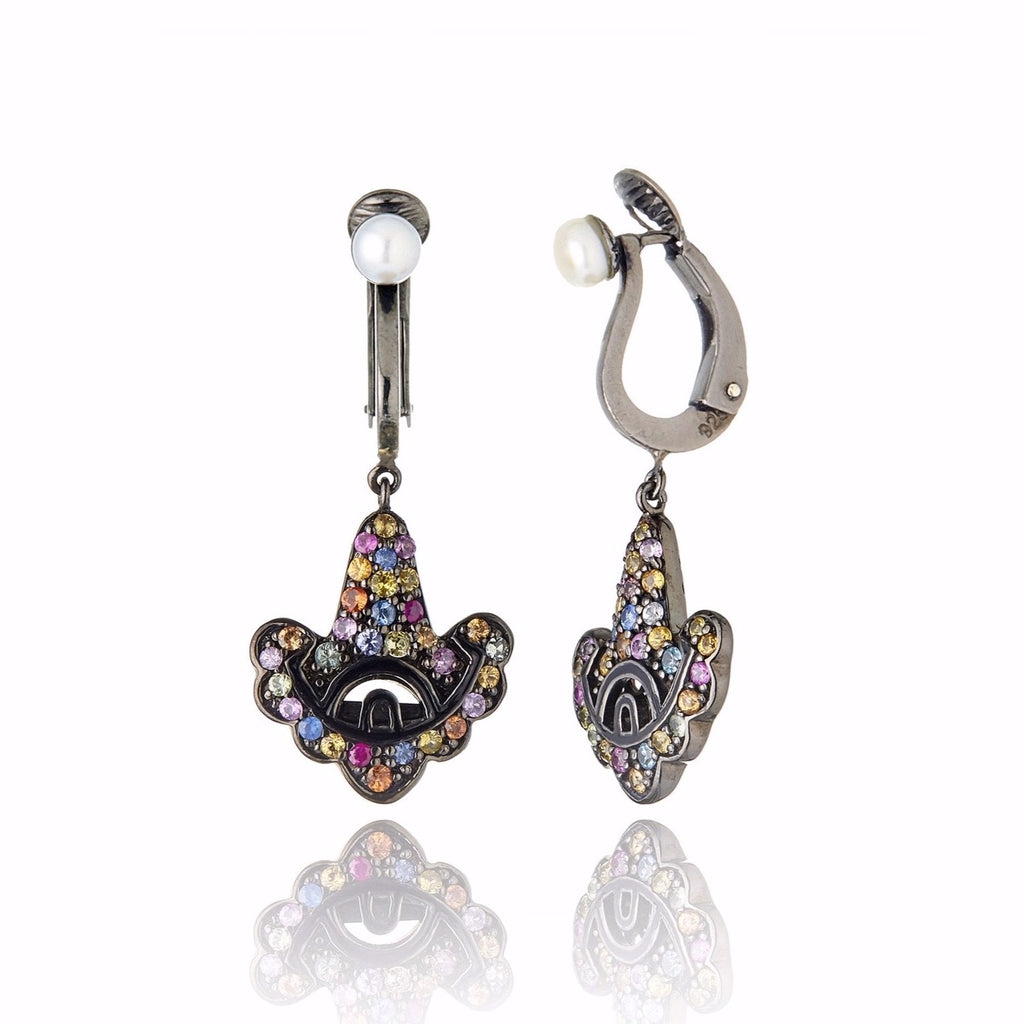 Sterling Silver Statement Earring Clips With Black Enamel, Mixed Sapphires & White Pearl
