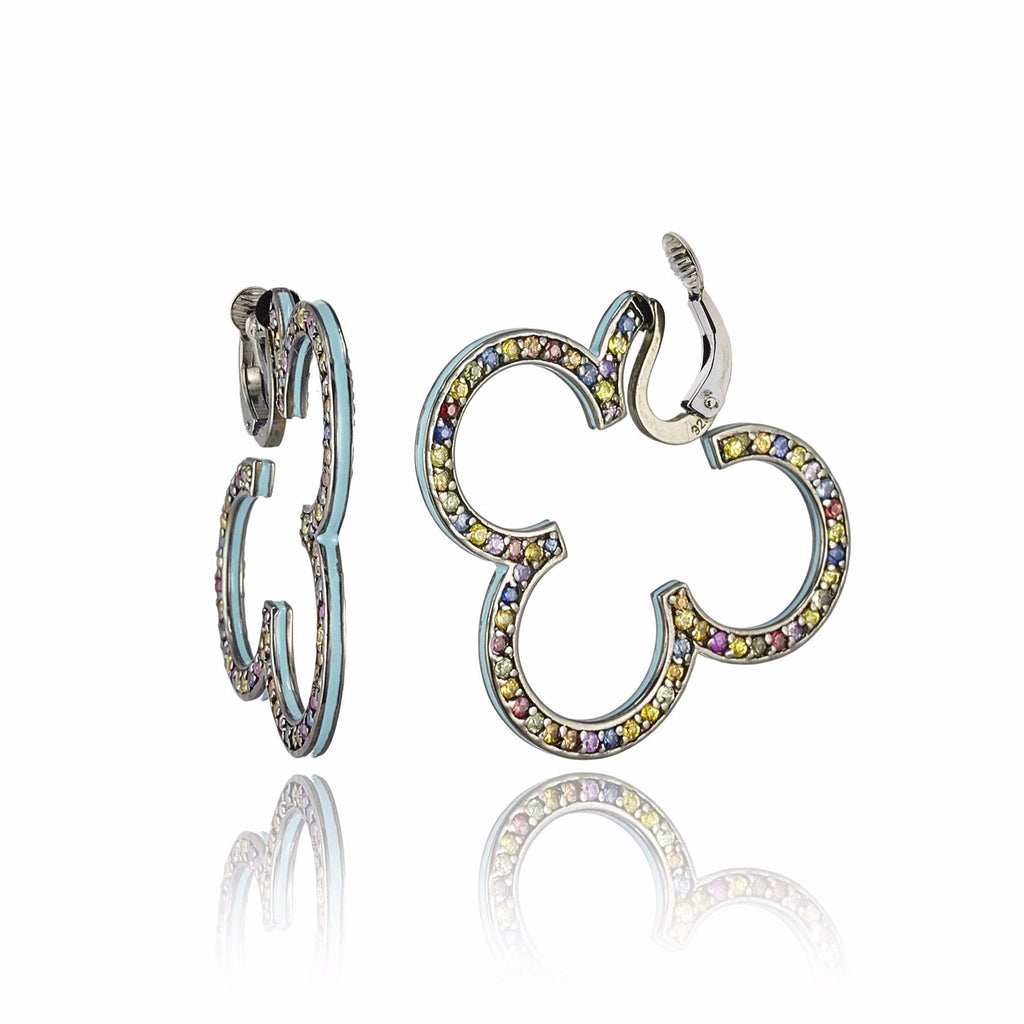 Sterling Silver Hoop Earring Clips With Baby Blue Enamel & Mixed Sapphires