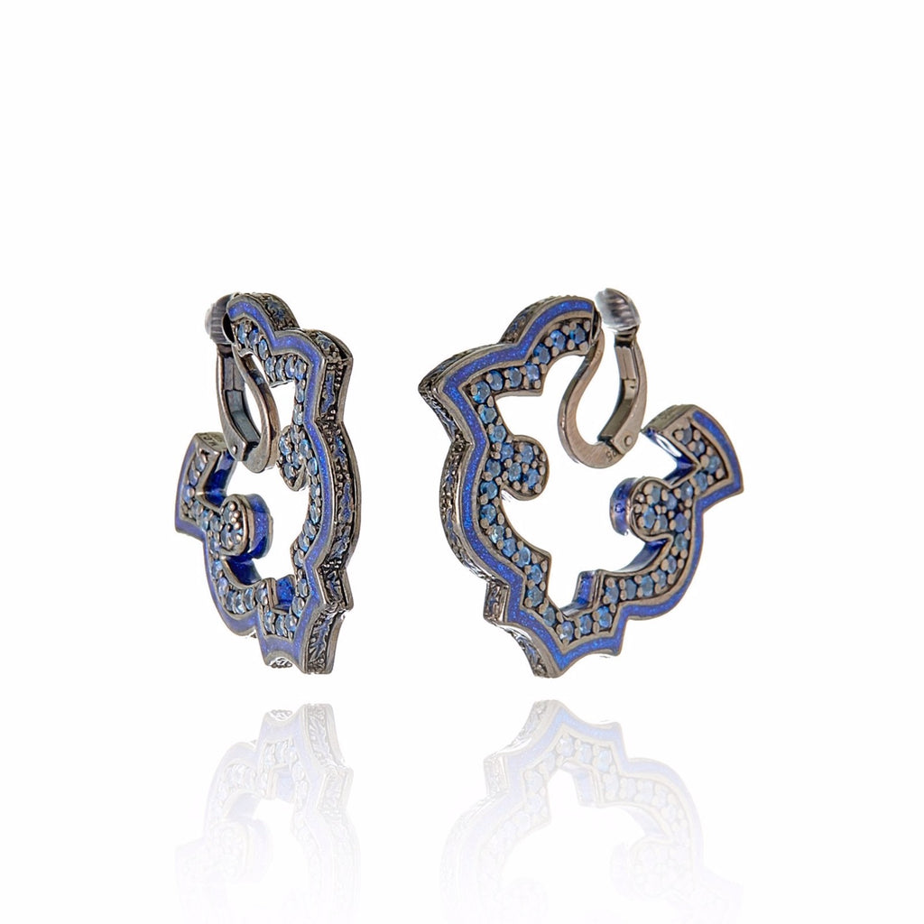 Sterling Silver Hoop Earring Clips With Dark Purple Oil Enamel & Blue Sapphire