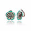 Sterling Silver Stud Earring Clips With Spearmint Enamel & Green Sapphire