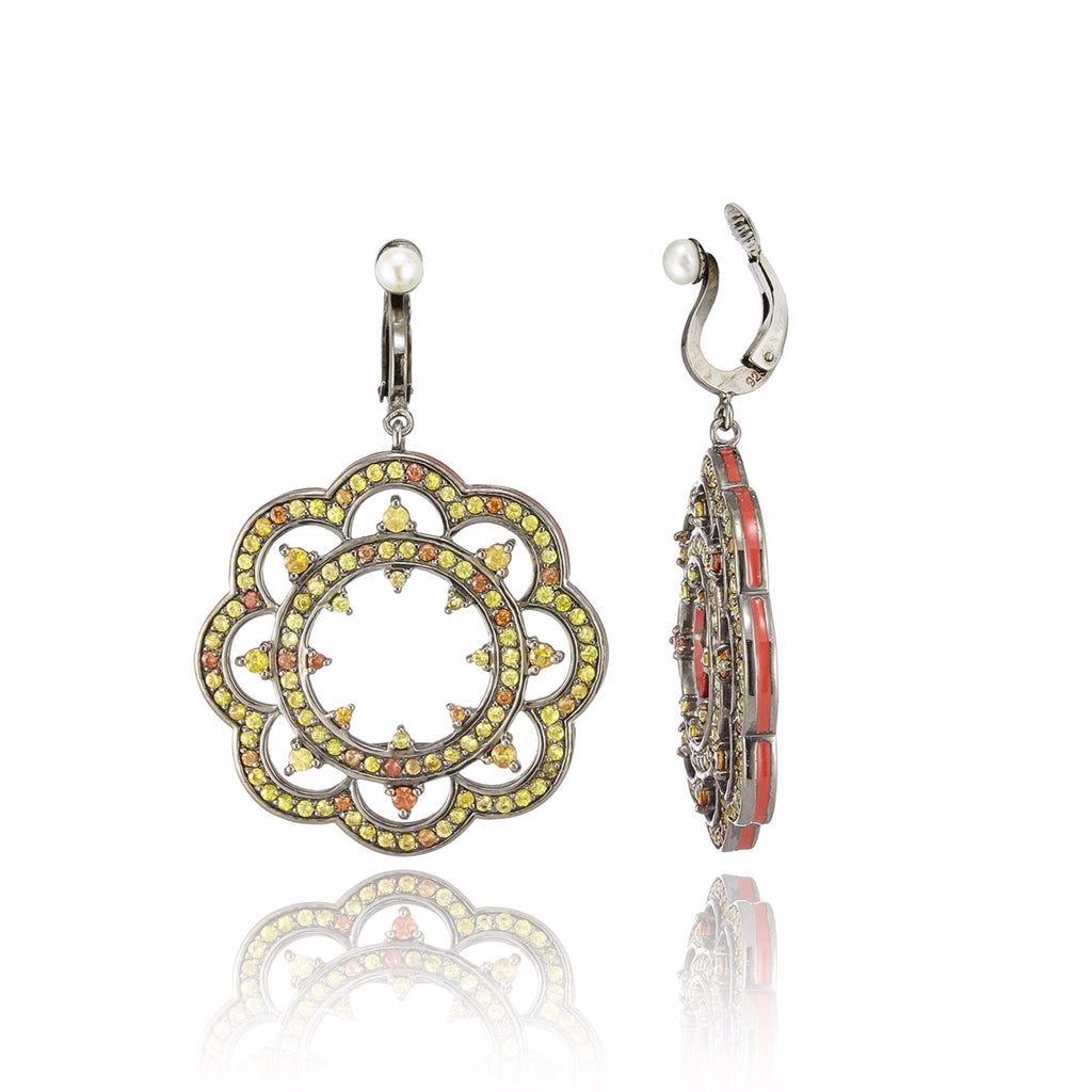 Sterling Silver Statement Earring Clips With True Red Enamel, Warm Mixed Sapphires & White Pearl