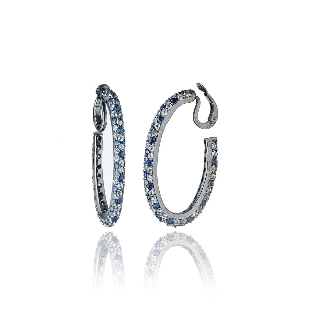 Sterling Silver Hoop Earring Clips With Mixed Ice Sapphires