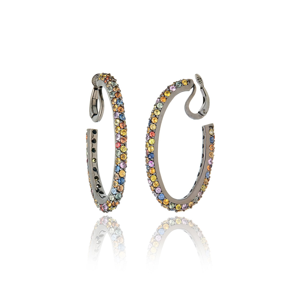 Sterling Silver Hoop Earring Clips With Mixed Sapphires