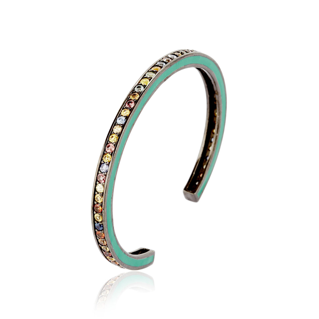 MCL Design Sterling Silver Slim Cuff Bracelet with Green Enamel & Mixed Sapphires