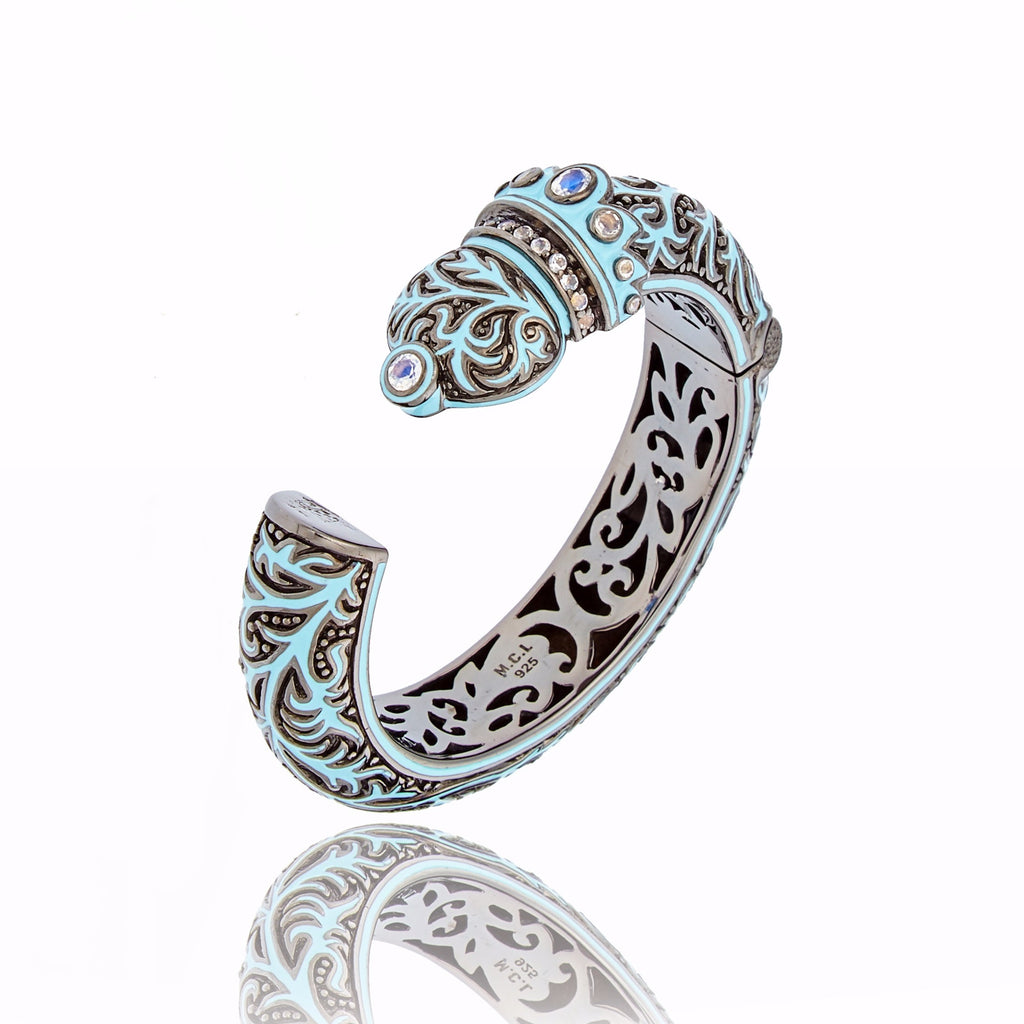Sterling Silver Vine Crowned Pillar Cuff Bracelet with Baby Blue Enamel & Moonstones