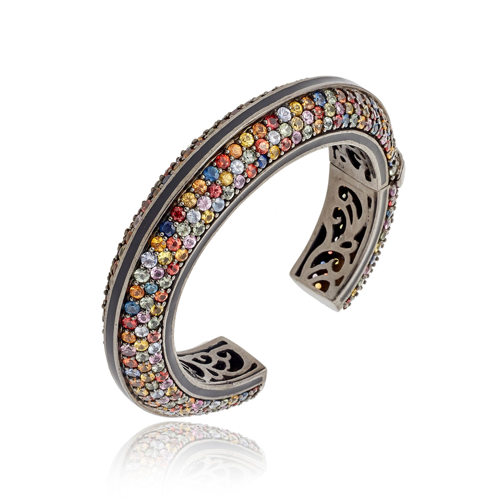 MCL Design Sterling Silver Statement Cuff Bracelet With Black Enamel & Mixed Sapphires