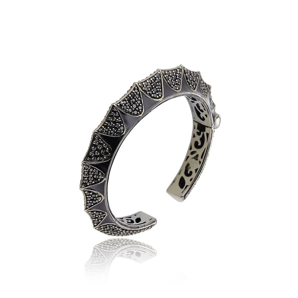Sterling Silver Cuff Bracelet With Black Enamel & Black Spinel