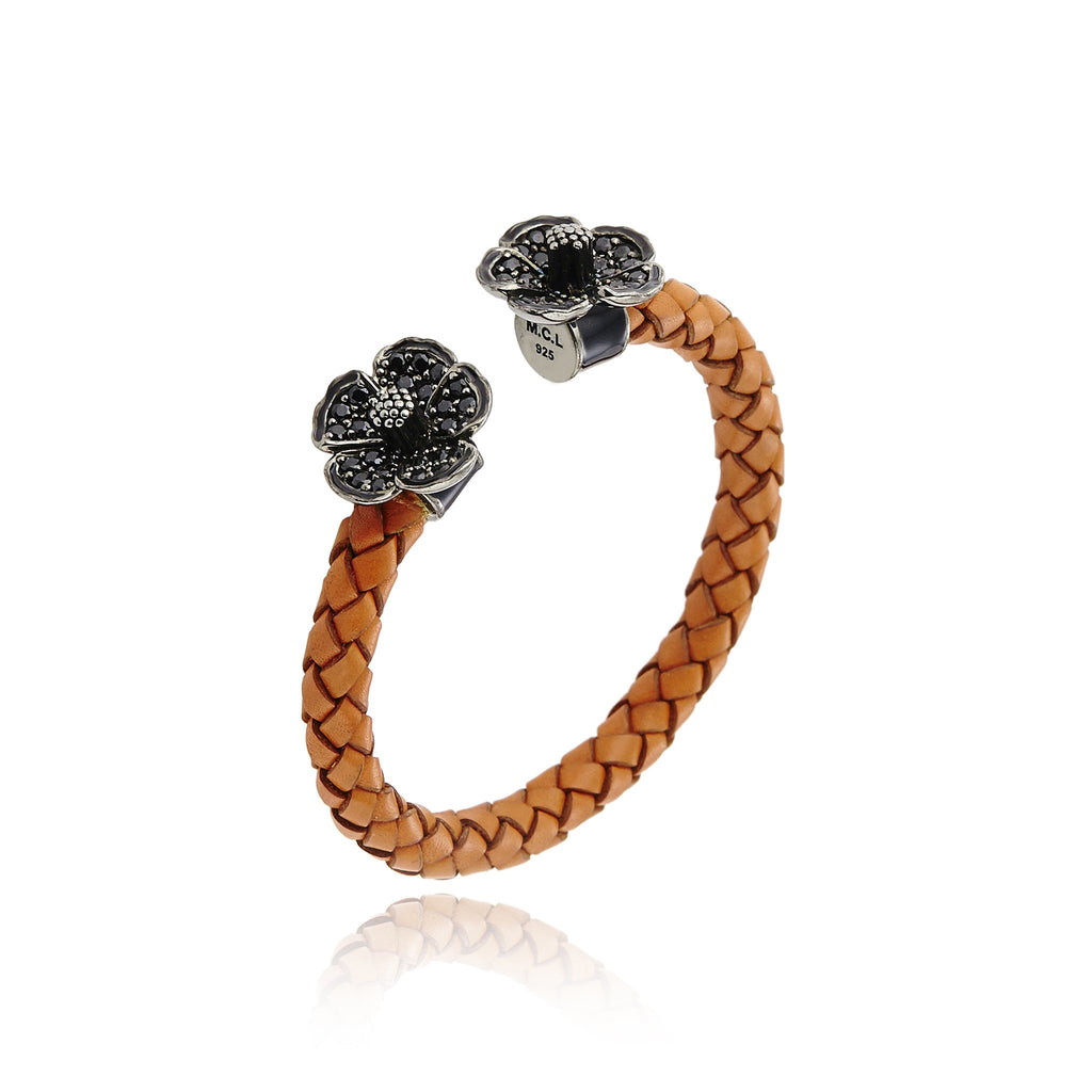 Orange Leather Wrapped Sterling Silver Cuff Bracelet With Black Enamel & Black Spinel
