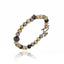 Black Rhodium Plated Sterling Bangle Bracelet With Set Black Spinel and Pyrite Bead and Hematite Bead