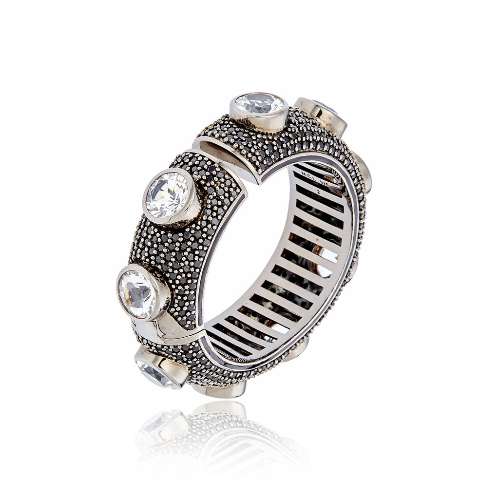 Sterling Silver Cuff Bracelet With Black Enamel, Black Spinel & White Topaz