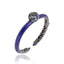 MCL Design Sterling Silver Cuff Bracelet with Deep Purple Glitter Enamel & Mixed Ice Sapphires