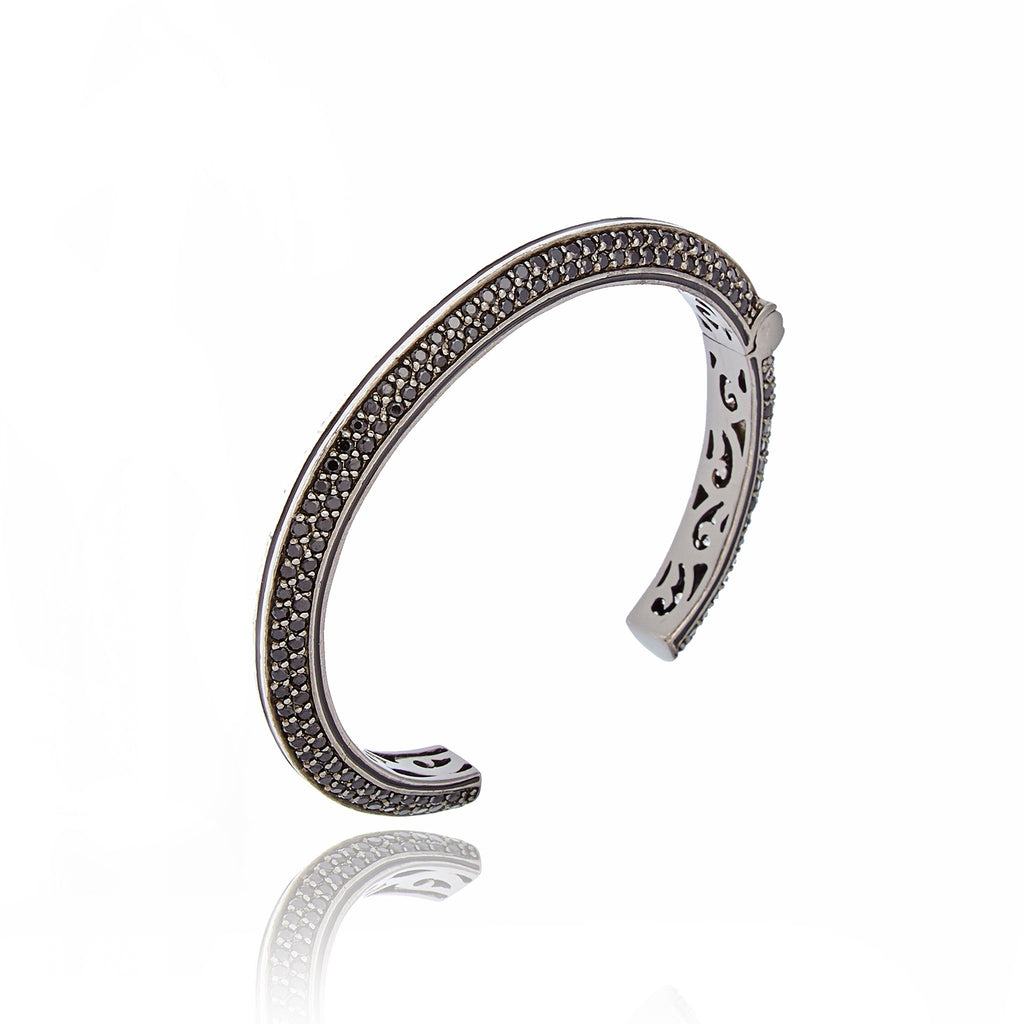 Sterling Silver Cuff Bracelet With Black Enamel, White Zircon & Black Spinel