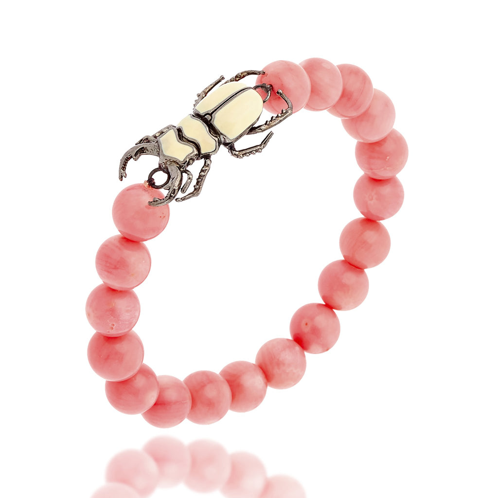 MCL Design Pink Coral Beaded Bangle Bracelet with Sterling Silver & White Enamel Bug