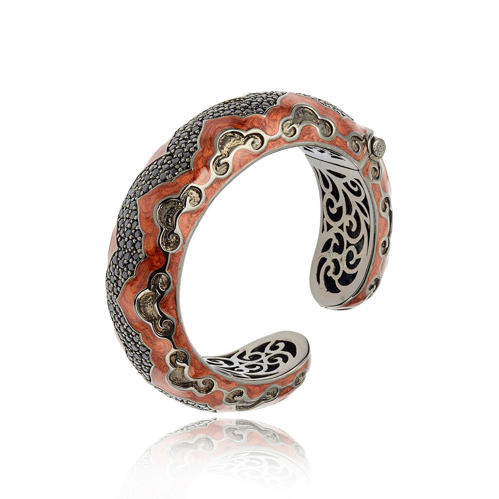 Sterling Silver Cuff Bracelet With Oil Red Enamel & Black Spinel