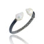 MCL Design Sterling Silver Cuff Bracelet with Black Enamel & White Pearl