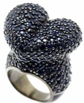 MCL Design Sterling Silver Heart Statement Ring with Black Enamel & Black Spinel