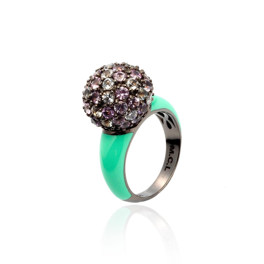Sterling Silver Statement Ring with Mint Green Enamel & Pink Sapphires