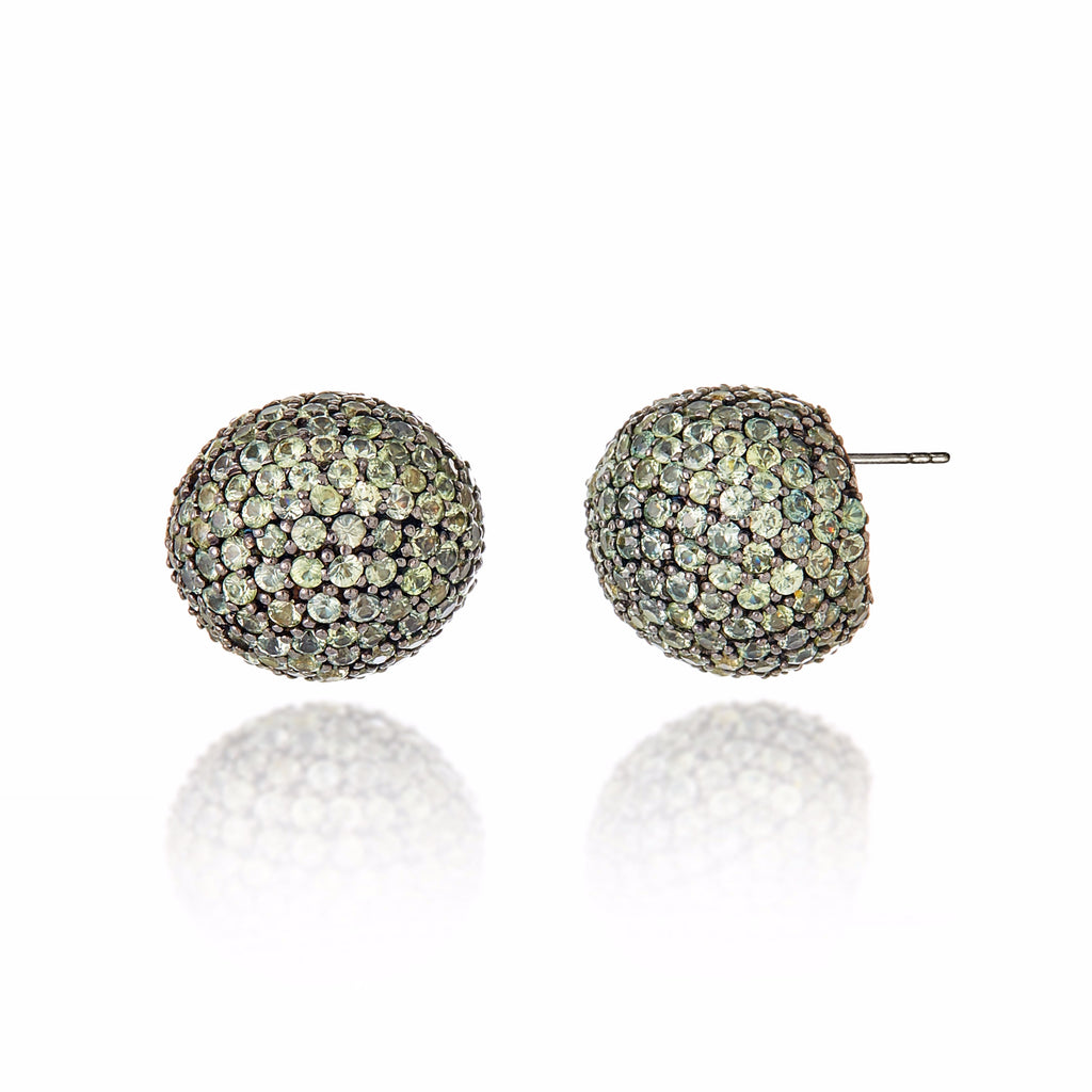 MCL Design Sterling Silver Statement Button Earrings with Green Sapphires