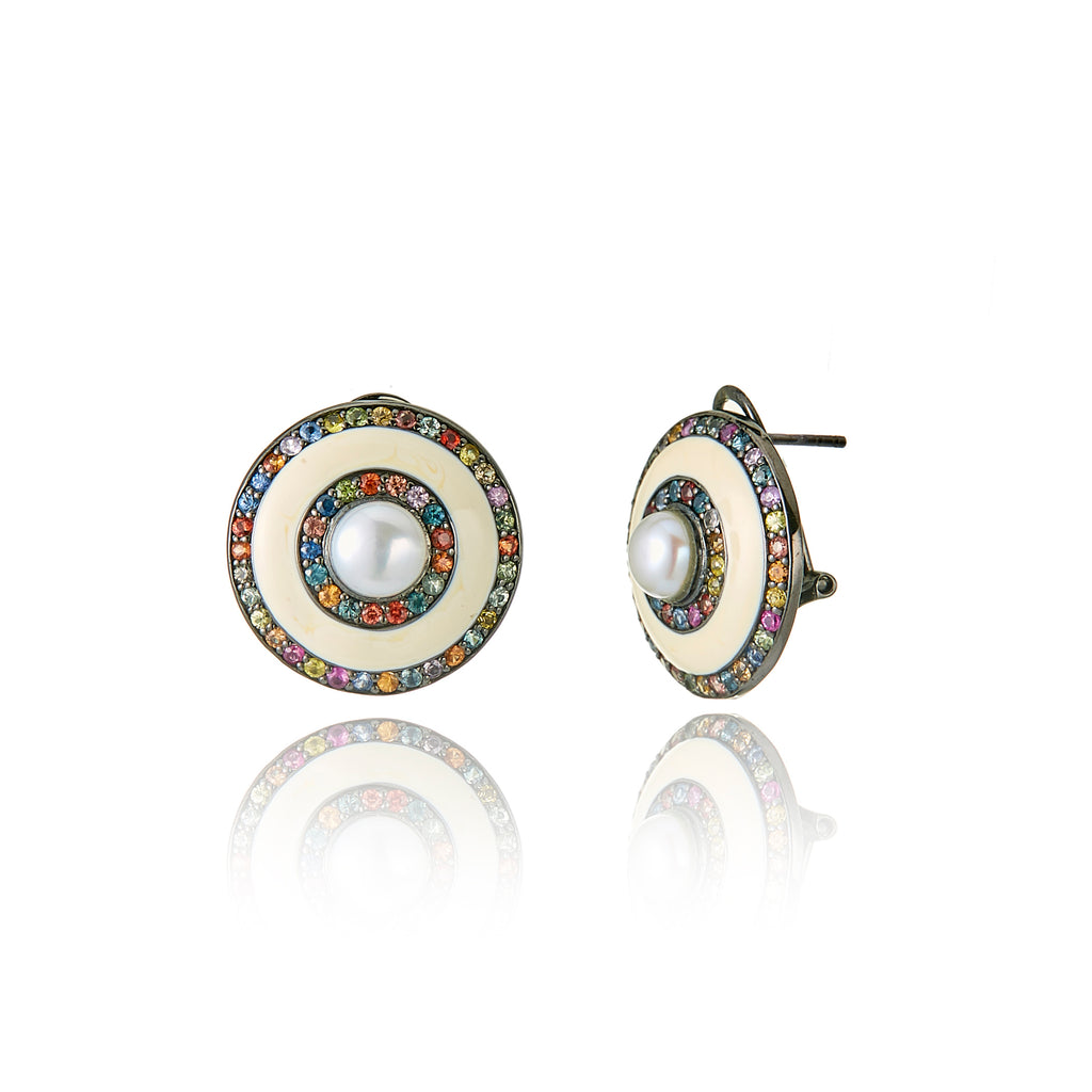 MCL Design Sterling Silver Button Earrings With White Enamel, Mixed Sapphires & White Pearls