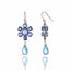 MCL Design Sterling Silver Statement Earrings with Dark Blue Glitter Enamel, White Topaz & Blue Topaz Drops