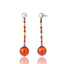MCL Design Sterling Silver Drop Earrings with Coral Pink and Ivory Pink Enamels, White Pearls & Carnelian Beads