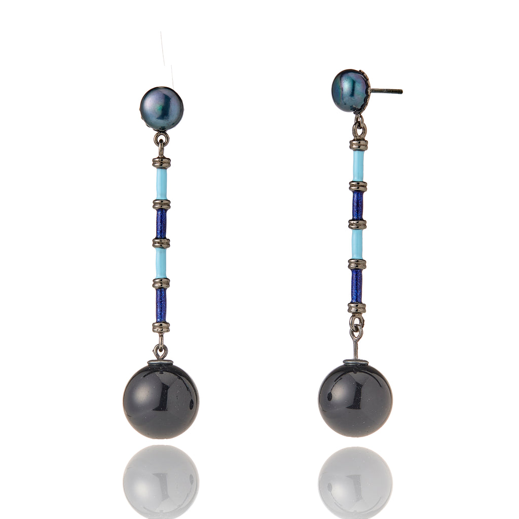 MCL Design Sterling Silver Drop Earrings with Dark Blue Oil Enamel, Baby Blue Enamel, Black Pearls & Onyx Beads