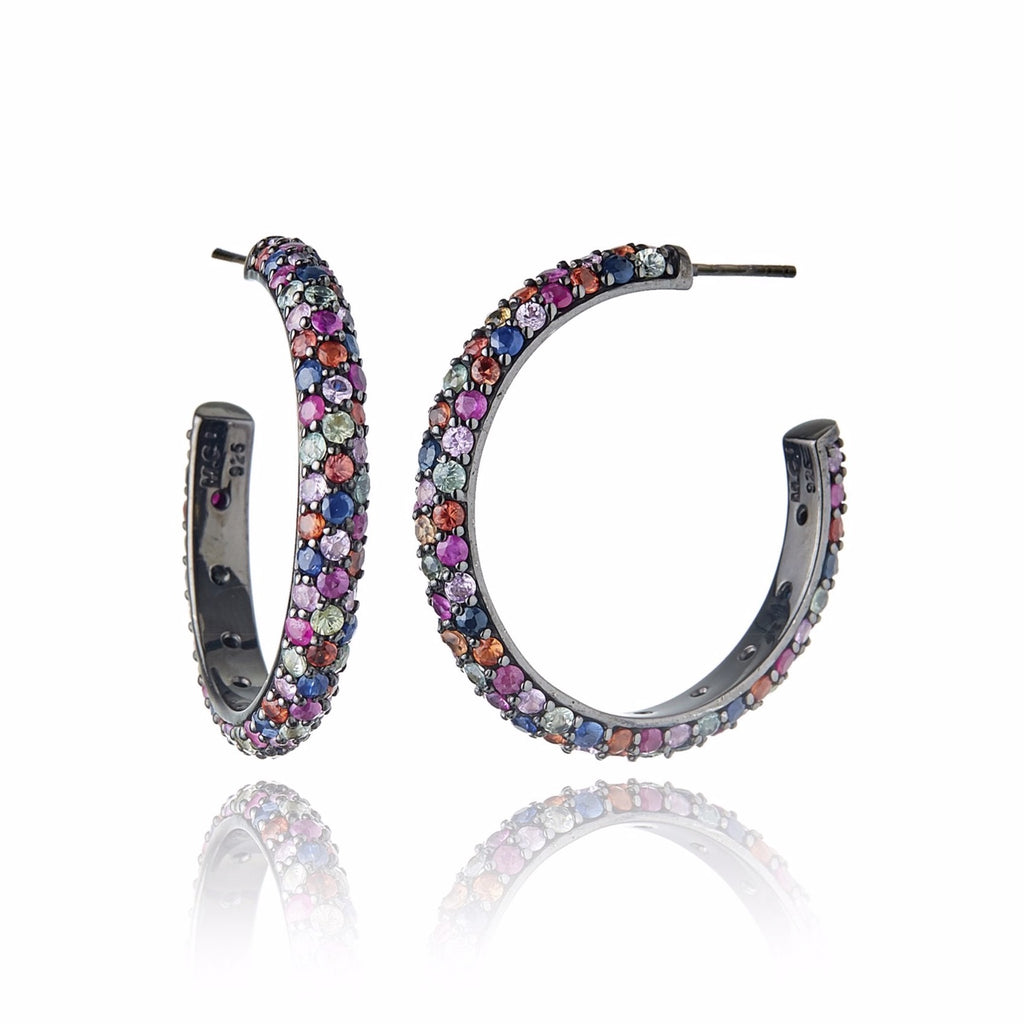 Sterling Silver Hoop Earrings With Mixed Berry Sapphires