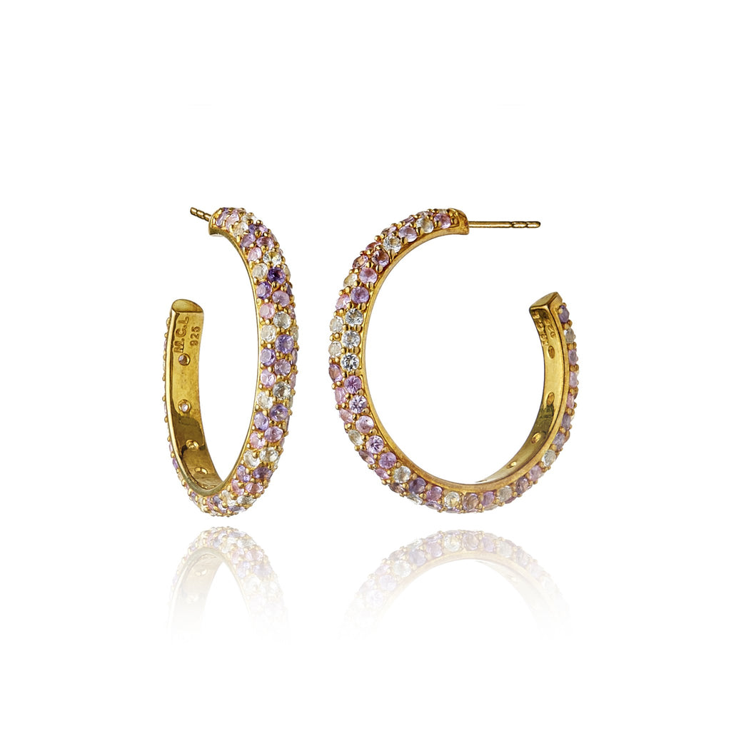 Gold Rhodium-Plated Sterling Silver Hoop Earrings With Mixed Rose Sapphires