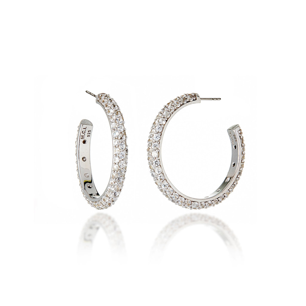 White Rhodium Plated Sterling Hoop Earring Set With White Topaz