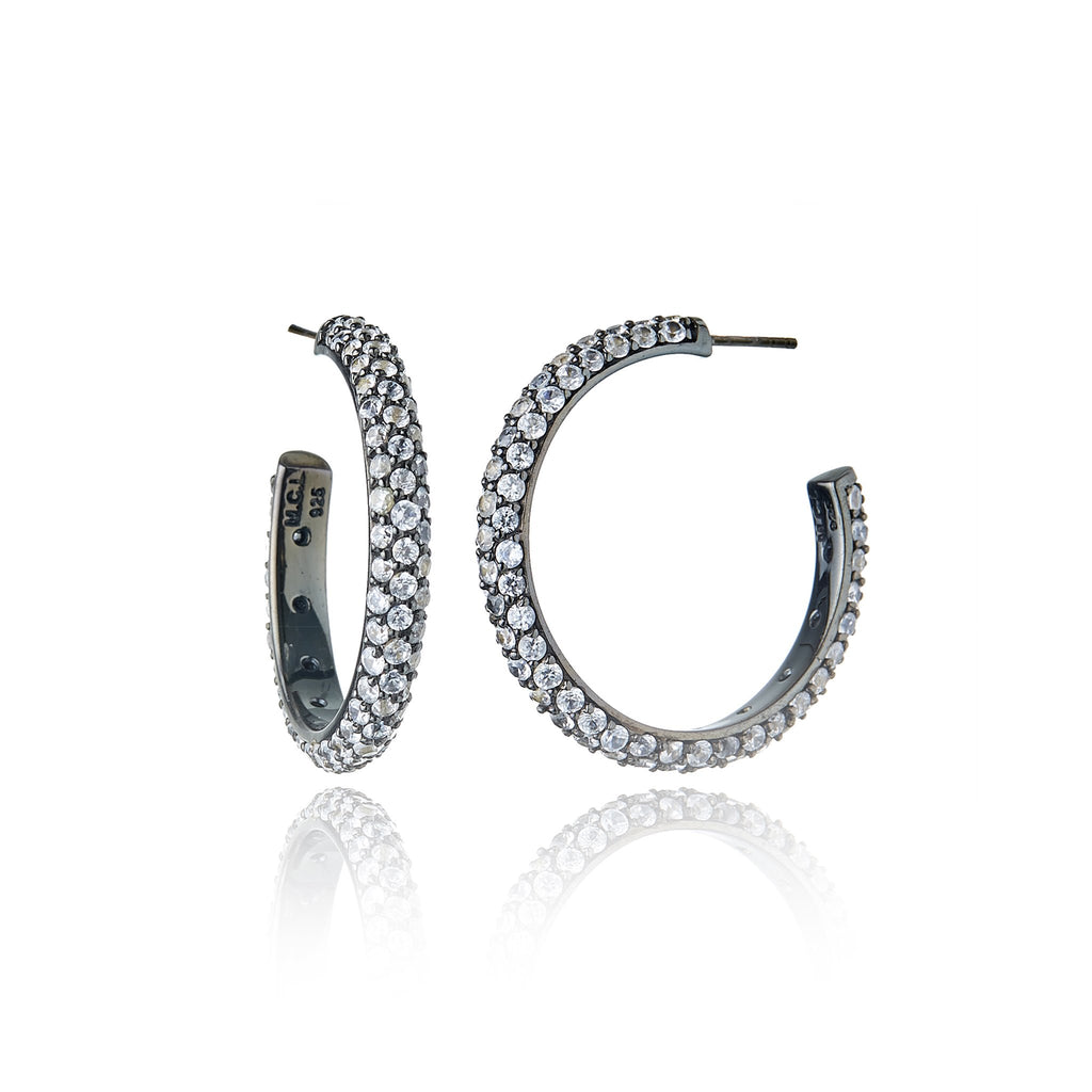 Sterling Silver Hoop Earrings With White Topaz