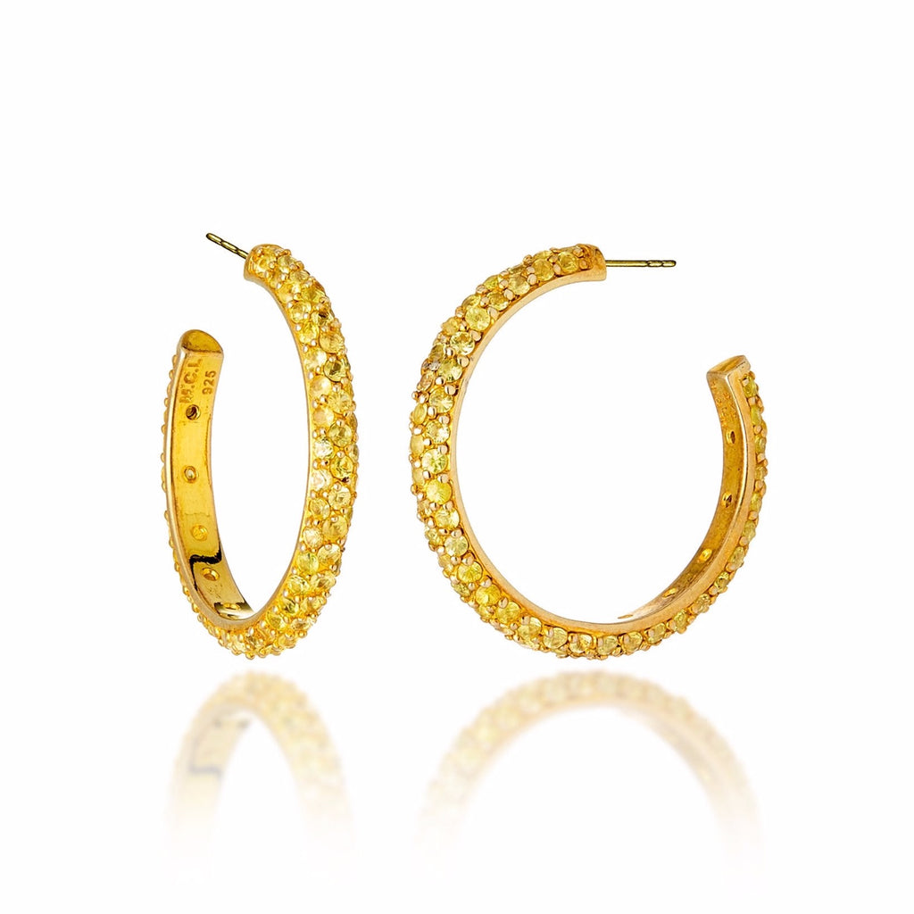 Gold Rhodium-Plated Sterling Silver Hoop Earrings With Yellow Sapphires