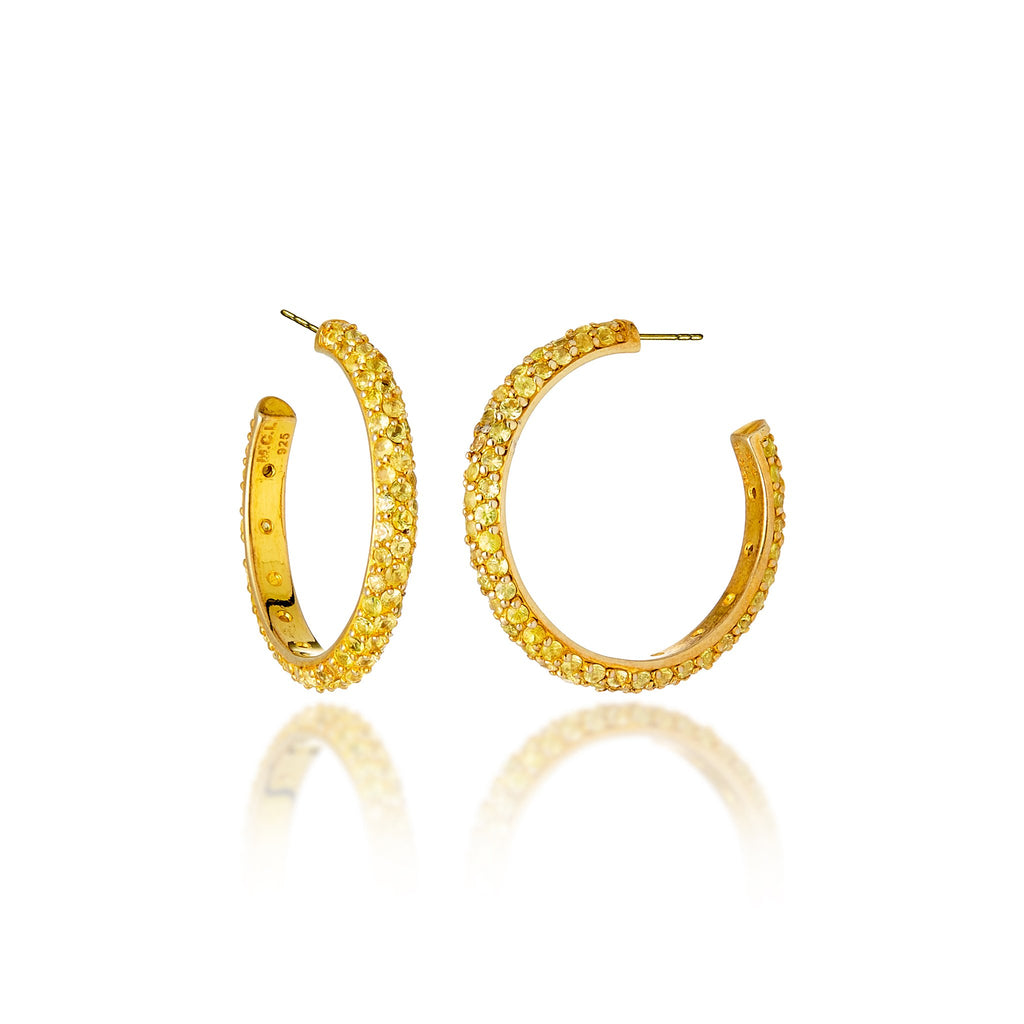 24K Gold-Plated Sterling Silver Hoop Earrings With Yellow Sapphires