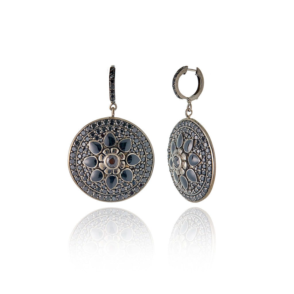 Black Rhodium Plated Sterling Statement Earring With Black Enamel Black Spinel and Black Onyx
