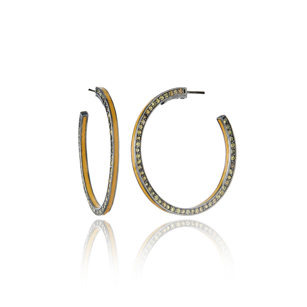 Sterling Silver Hoop Earrings With Straw Enamel & Yellow Sapphire