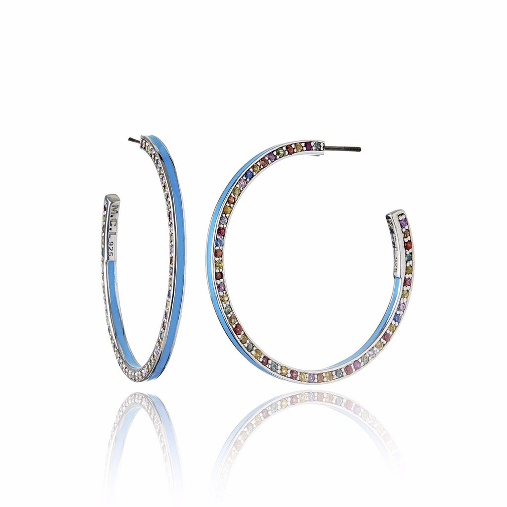 Sterling Silver Hoop Earrings With Midday Blue Enamel & Mixed Sapphires