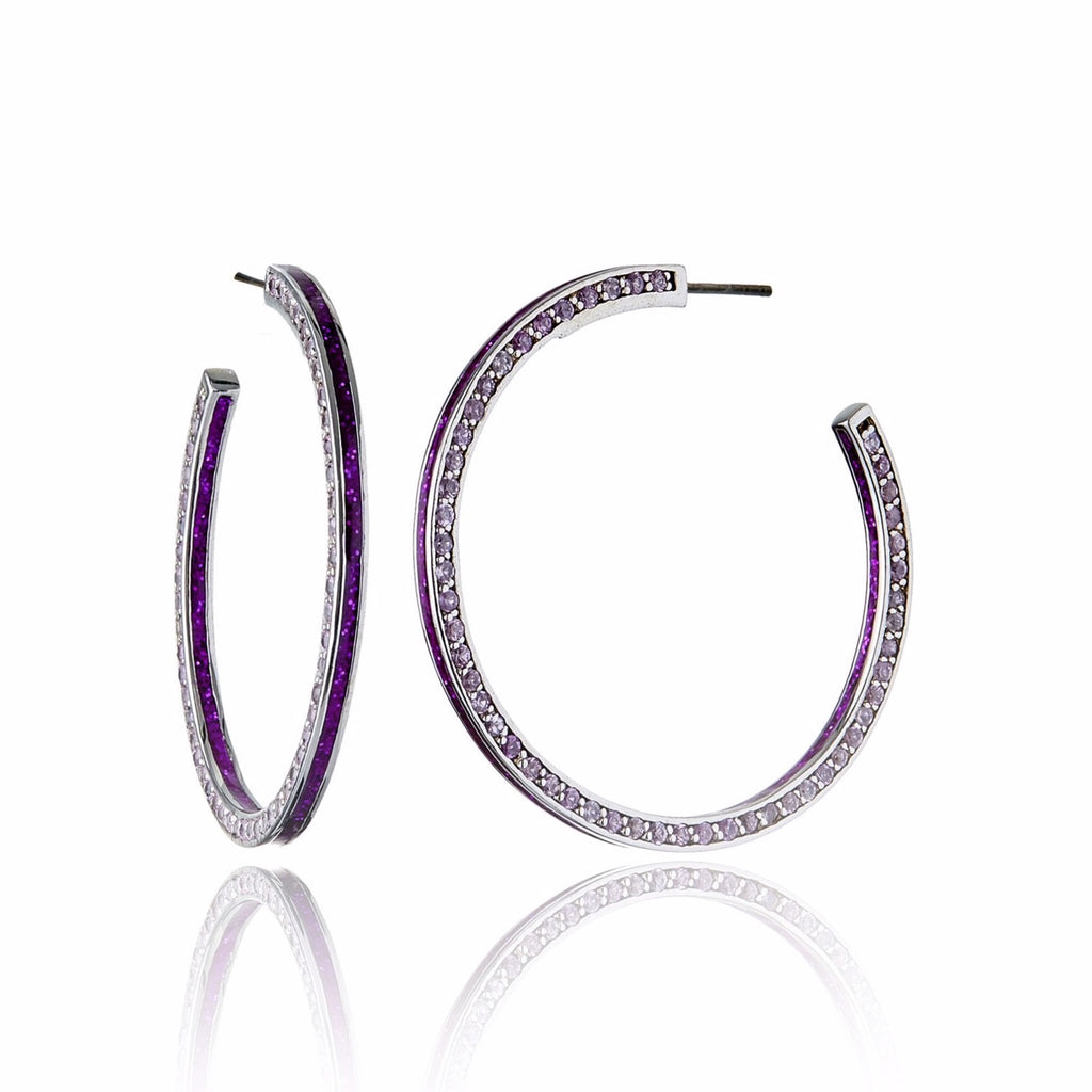 Sterling Silver Hoop Earrings With Metallic Earth Red Enamel & Pink Sapphire