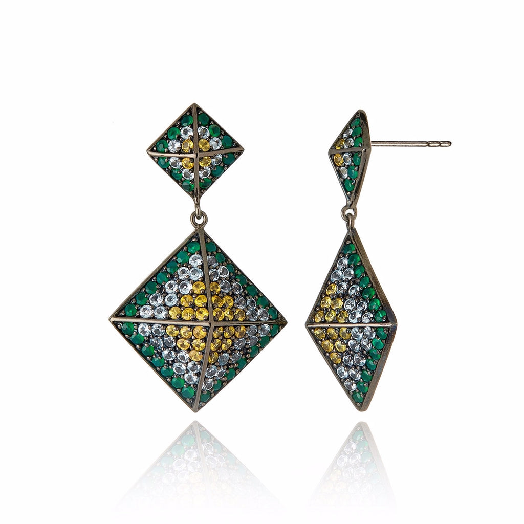 Sterling Silver Statement Earrings With Yellow Sapphire, Blue Topaz & Green Agate
