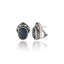 Sterling Silver Button Earrings With White Enamel, Black Spinel & Black Onyx