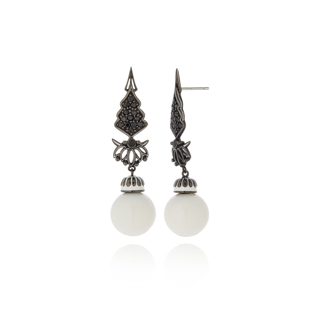 Sterling Silver Statement Earrings With White Enamel, Black Spinel & White Agate Beads