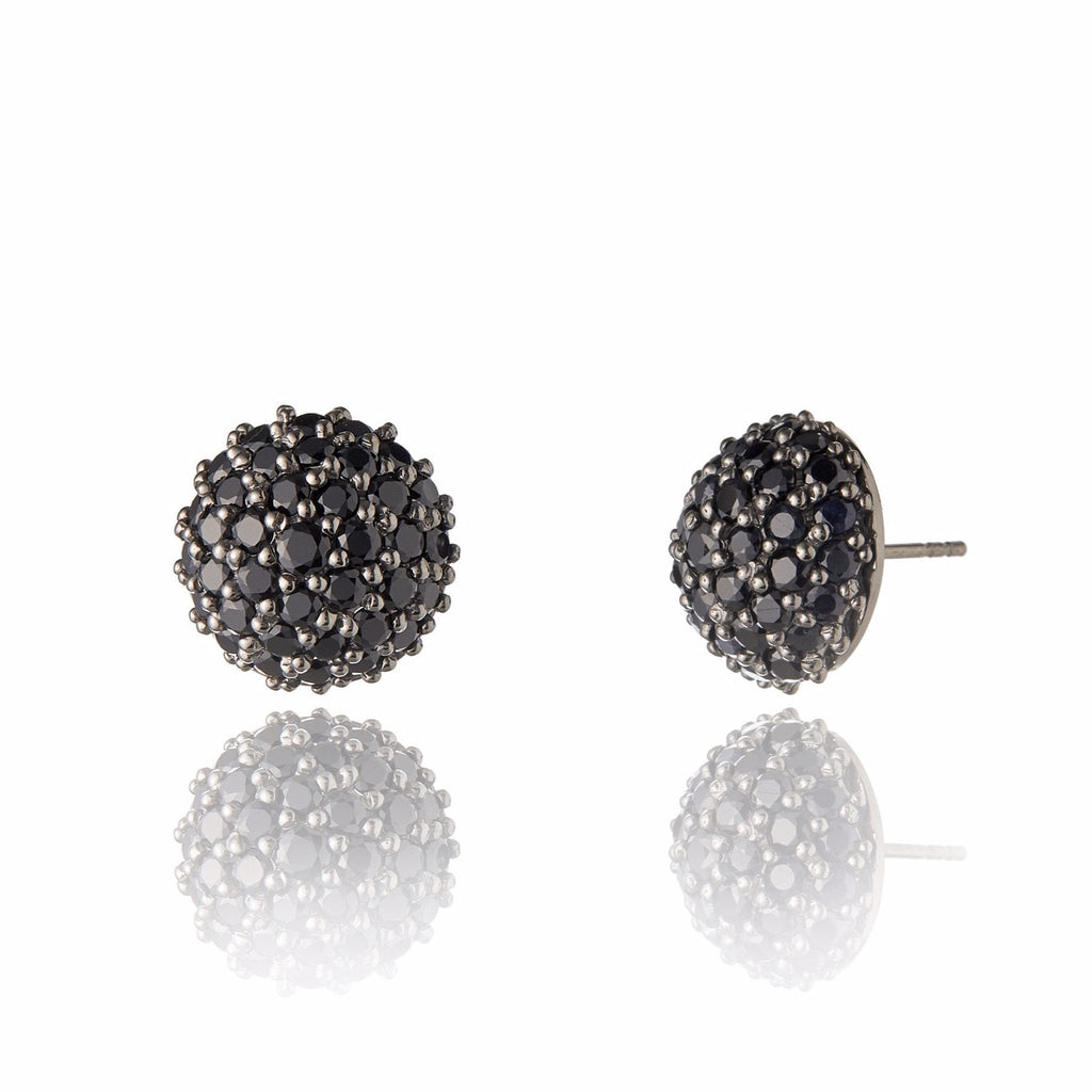 Sterling Silver Stud Earrings with Black Spinel