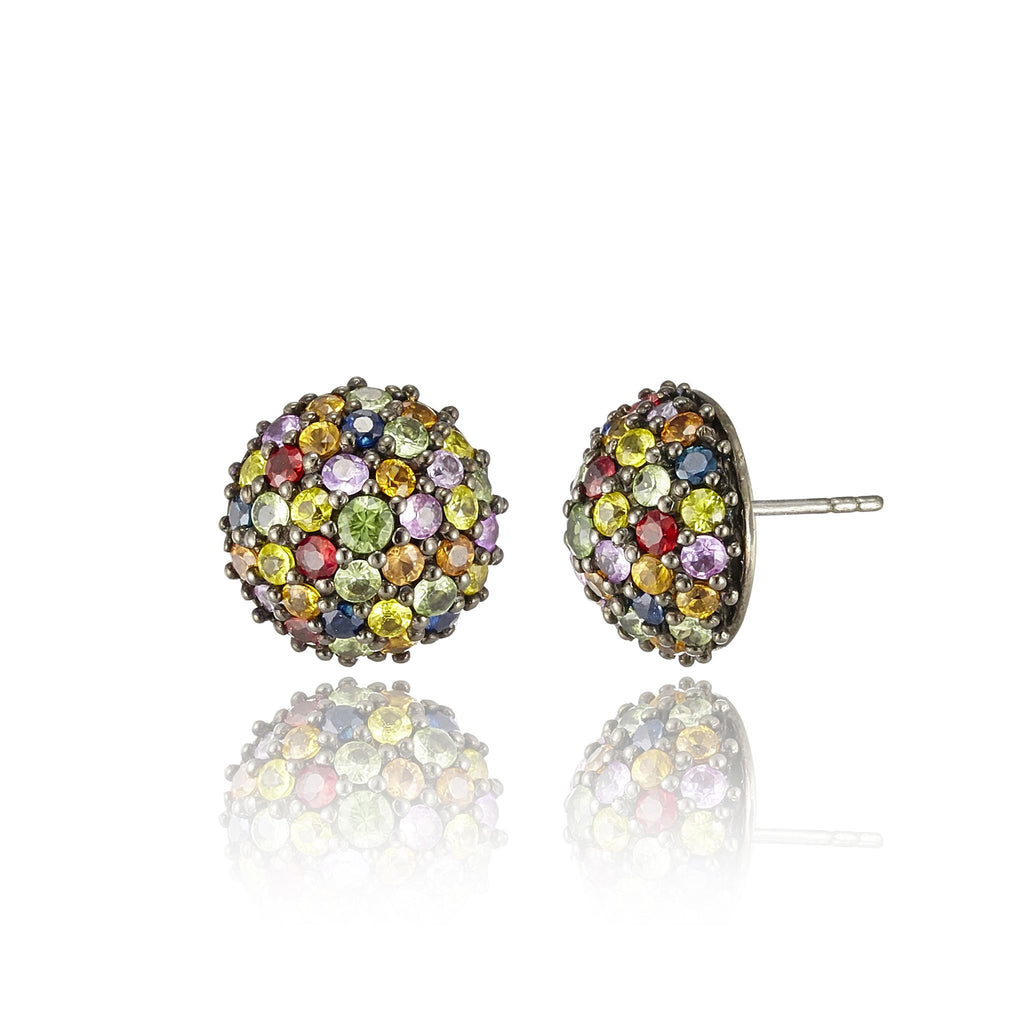 Sterling Silver Stud Earrings with Mixed Sapphires