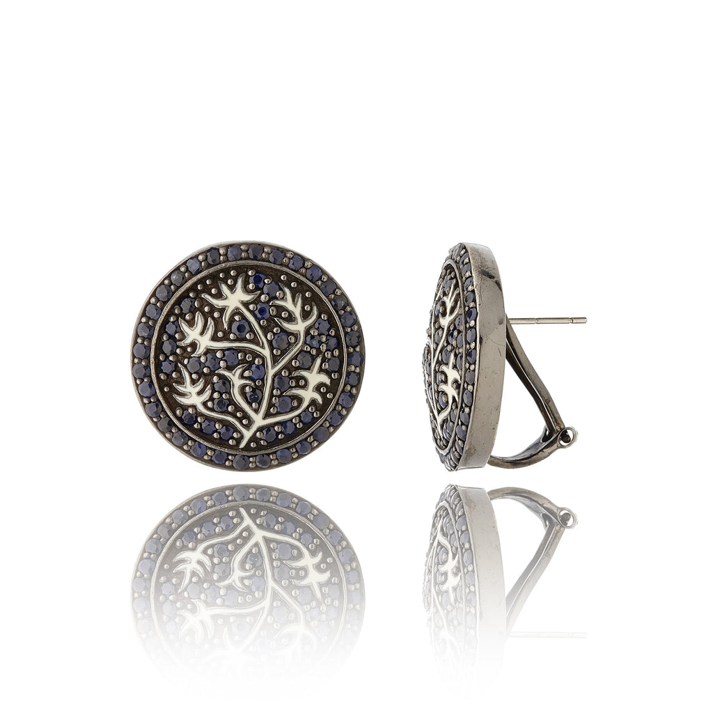 MCL Design Sterling Silver Button Earrings with White Enamel & Black Spinel