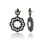 Sterling Silver Statement Earrings With White Enamel & Black Spinel