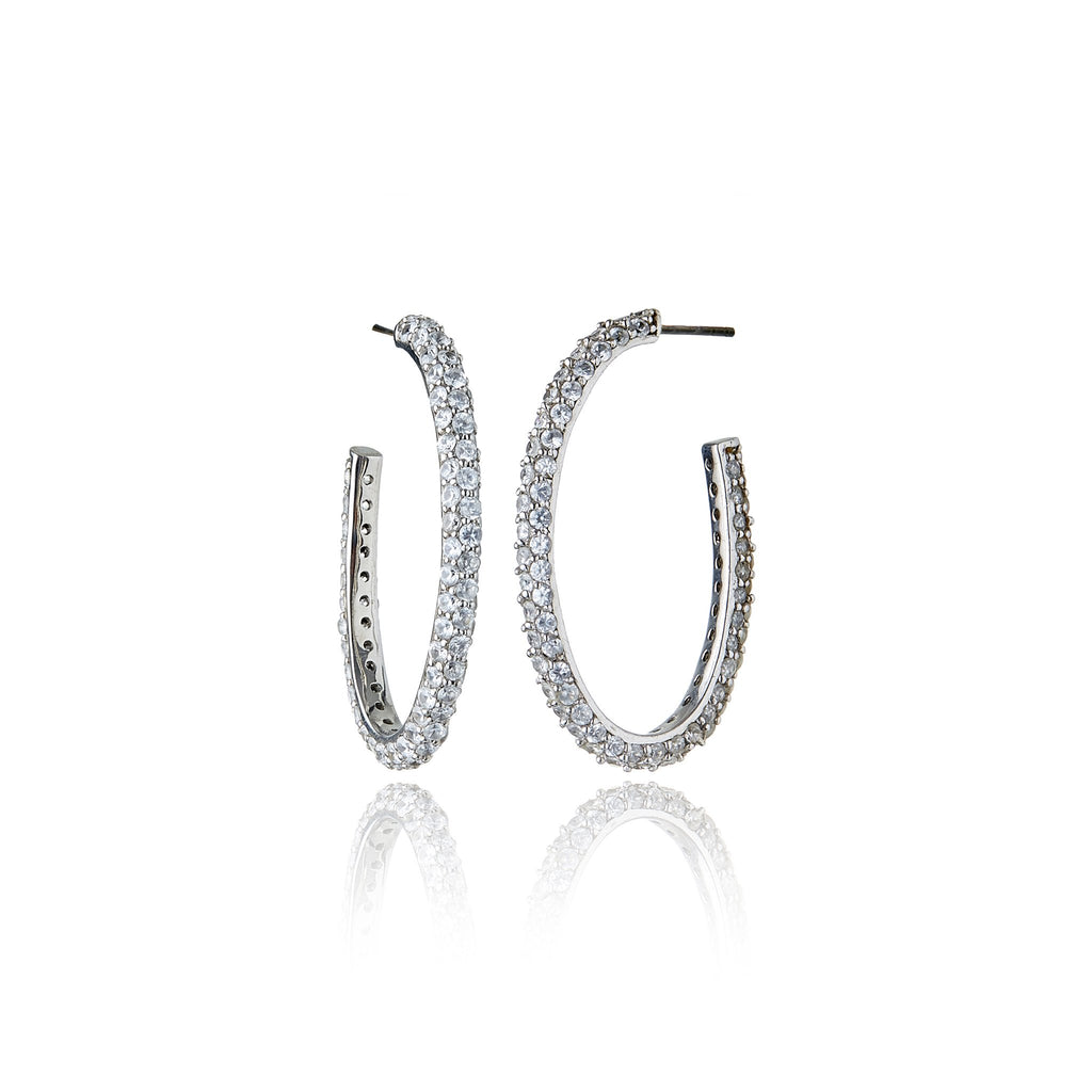 White Rhodium Plated Sterling Hoop Earring Set With White Zircon