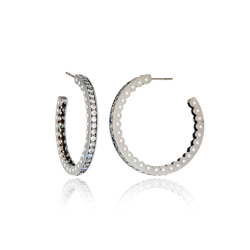 Sterling Silver Hoop Earrings With White Enamel & Moonstone